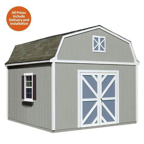 Home Depot Installed Sheds by Handy Home Products Installed Sequoia 12 Ft X 12 Ft Wood