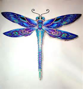 awesome blue and purple dragonfly tattoo design
