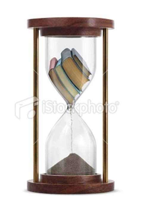 a stack of old books inside the hourglass and transform