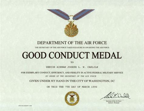 army conduct medal certificate template 28 images army
