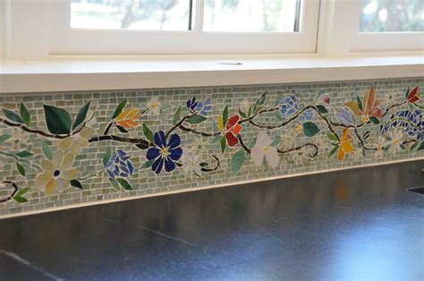 tile borders for kitchen backsplash floral mosaic border for kitchen designer glass mosaics