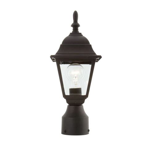 post lights hton bay 1 light black outdoor l hb7026p 05 the home depot