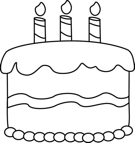 clip art black and white small black and white birthday