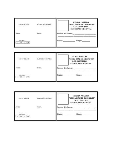 credenciales escolares formato credencial de la biblioteca