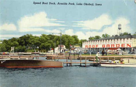 speed boat dock arnolds park lake okoboji ia