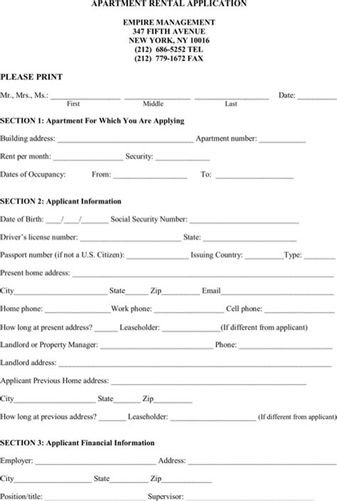 Apartment Credit Application Form Rental Application Template For Excel Pdf And Word