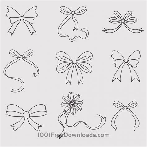 Abstrack Ruflle free vectors vintage vector set of handdrawn bows abstract