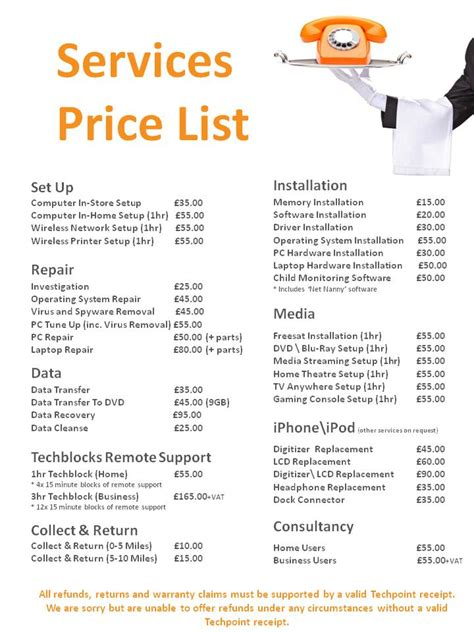 service prices techpoint computer sales repairs maintenance services price list