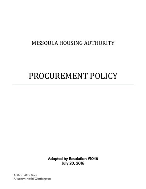 missoula housing authority missoula housing authority procurement policy 2016