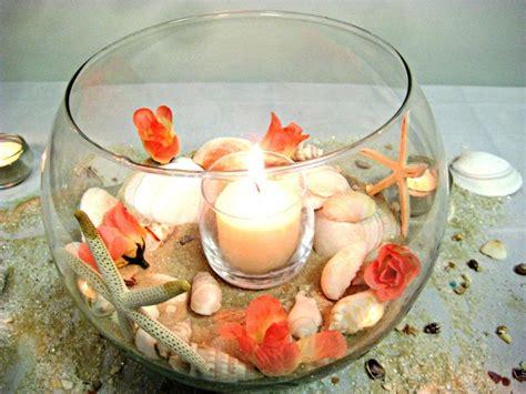 fish bowl centerpiece coral seashell original