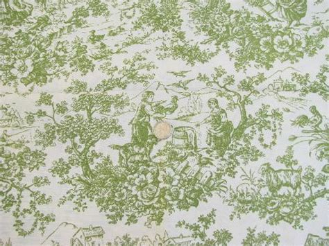 Toile Curtains Green Vintage Cotton Rayon Toile Fabric Pastoral W Goats Green On White