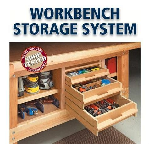 work bench with storage i could totally use this storage under my workbench workshop ideas pinterest