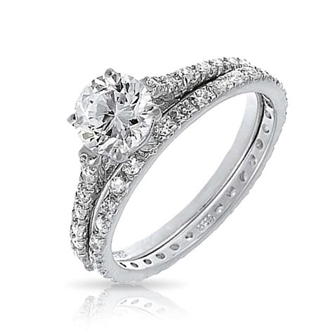 braut ringe bridal cz solitaire engagement wedding ring set