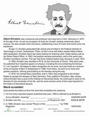 kid friendly biography of albert einstein all about albert einstein worksheet education com