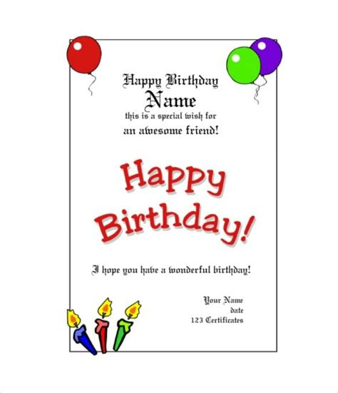 Promotion Card Template Free Word by Free Birthday Gift Certificate Template Journalingsage