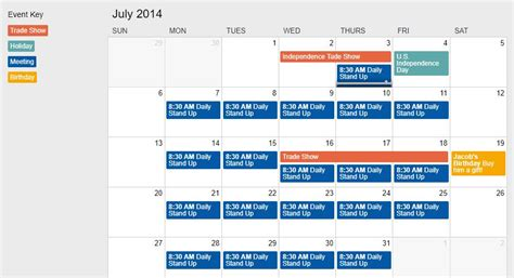 simple event calendar javascript onaircode