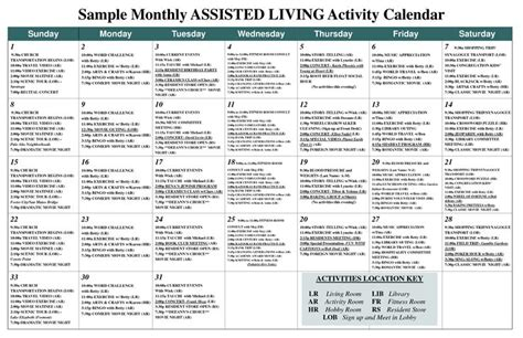 Sle Monthly Assisted Living Activity Calendar Pdf Work Ideas Pinterest Assisted Assisted Living Menu Template