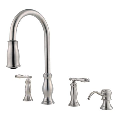 stainless steel hanover   tms  handle pull  kitchen faucet pfister faucets