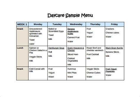 preschool menu template daycare food menu template food