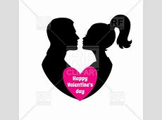 Happy Valentine's day - couple silhouette with heart ... Happy Valentines Day Clip Art Children