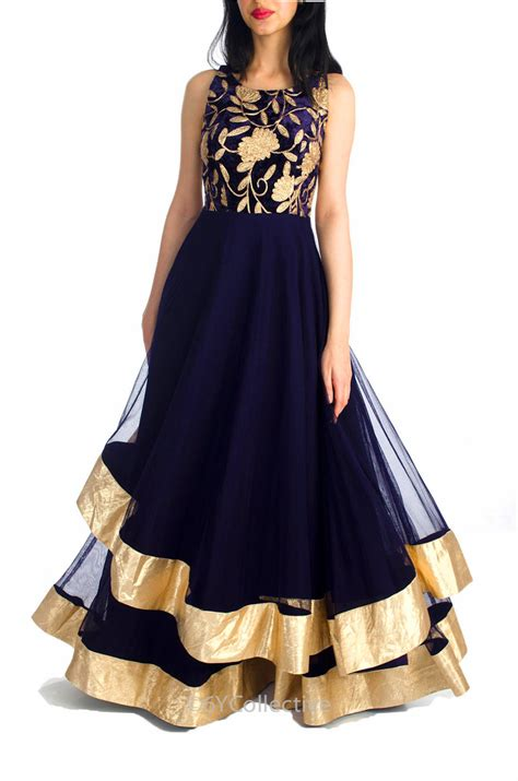 Buy Midnight Blue Layered Gown Online in India at cooliyo