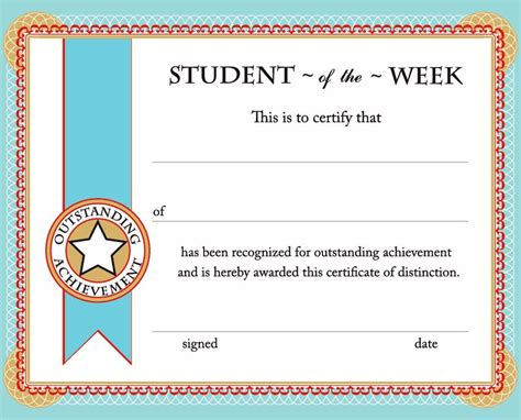 student certificate template free printable student of the week certificate back to