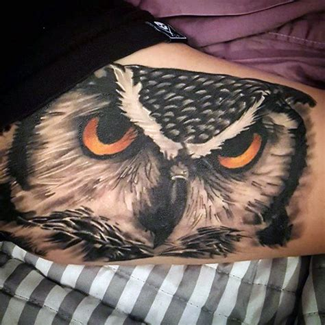 owl eyes tattoo meaning 70 owl tattoos for men creature of the night designs