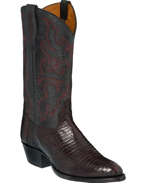 tony lama mens black cherry teju lizard cowboy boots