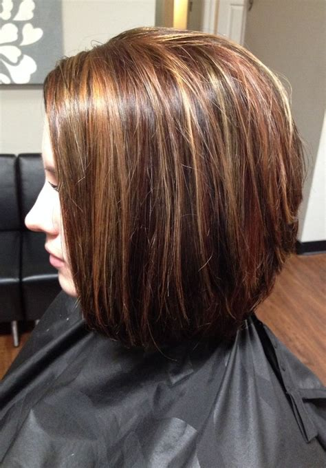 Lowlights Hair Color Pics | hair color lowlights and highlights cut stacked in the