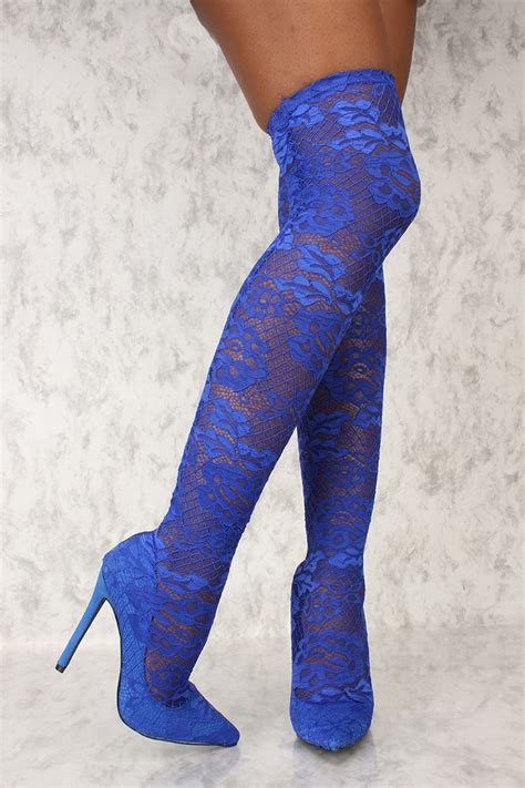 blue high heel boots royal blue embroider lace pointy toe thigh high heel