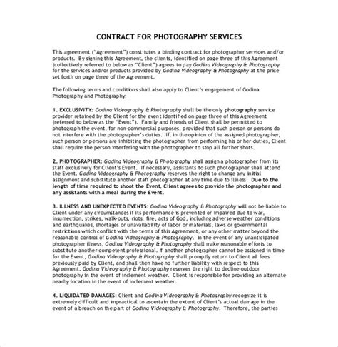 photoshoot contract template 20 photography contract template