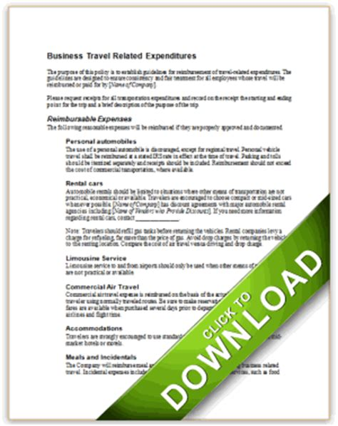 90 Business Travel Policy Business Travel Policy Template Sle 9 Free Documents Download In Travel And Entertainment Policy Template