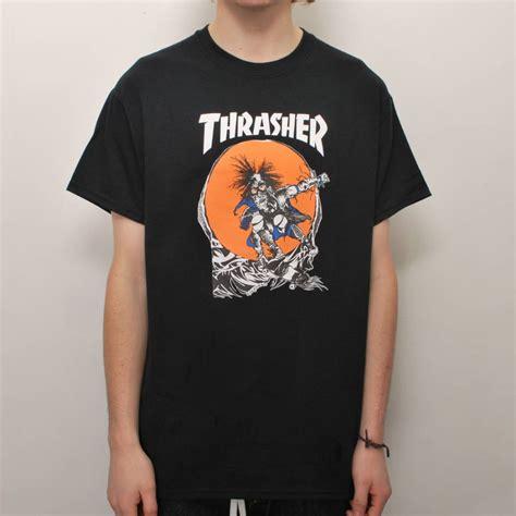 Kaos Thrasher Tshirt Thrasher Tees Thrasher Thrasher 23 thrasher thrasher skate outlaw skate t shirt black thrasher from skate store uk