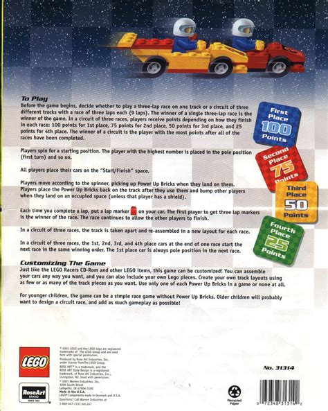 game instructions layout lego super speedway game instructions 31314 racers