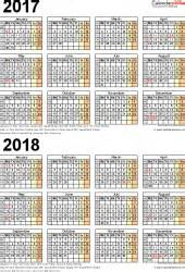 Two Year Calendar Template by Two Year Calendars For 2017 2018 Uk For Word