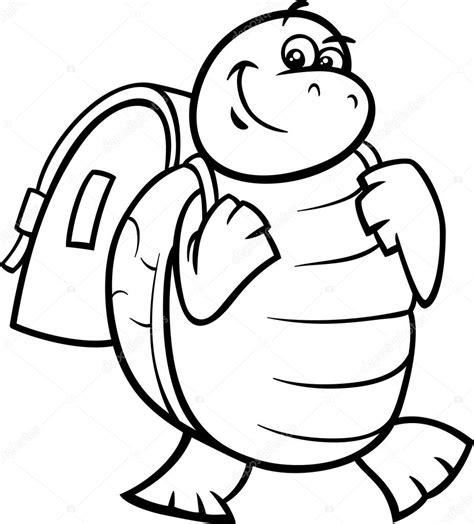imagenes a blanco y negro de matematicas tortuga con mochila para colorear p 225 gina archivo