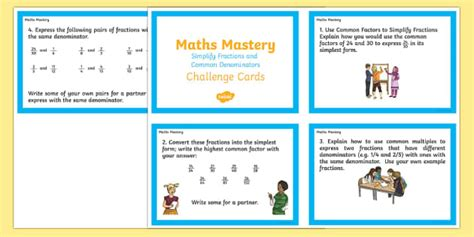 year 6 maths challenge cards year 6 fractions simplify fractions and common denominators