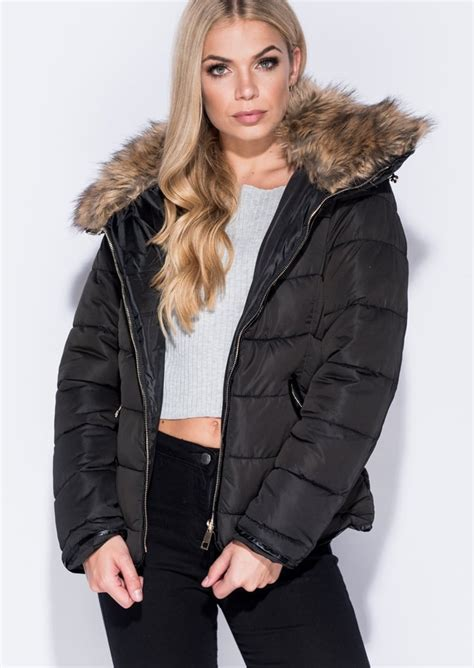 Faux Fur Collar Padded Coat faux fur collar quilted padded puffer jacket coat black