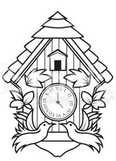 printable cuckoo clock template create your own cuckoo clock digital print coloring page