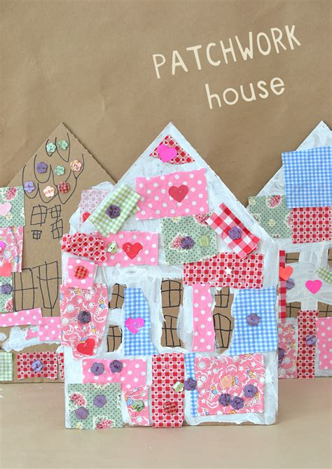 Patchwork House - patchwork houses with cardboard and collage artbar