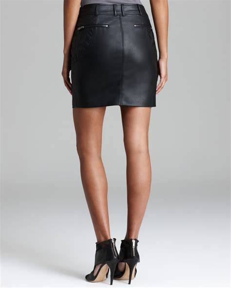 guess skirt faux leather moto zip in black lyst