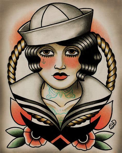 sailor girl tattoos designs vintage sailor paintings by quyen dinh sailor