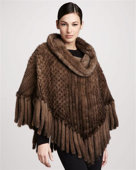 knitted mink fur pologeorgis knitted mink fur poncho in brown lyst