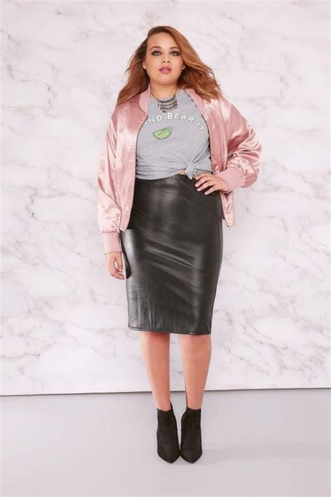 limited collection black pu midi pencil skirt plus size