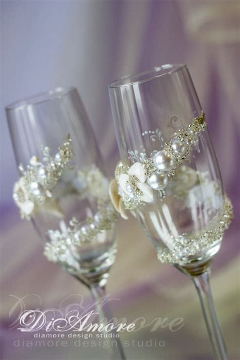 Handmade Chagne Flutes - personalized wedding flutes wedding chagne flutes