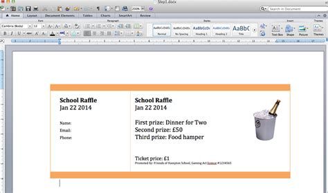 ticket template for apple pages free raffle ticket template for mac