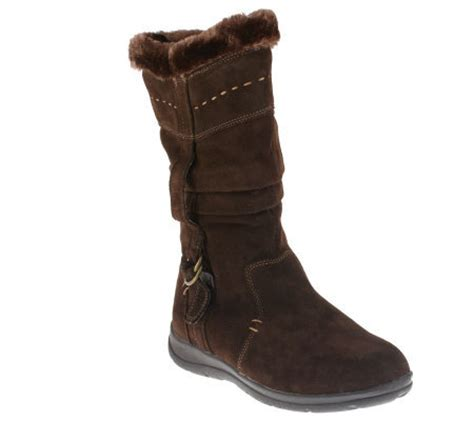 white mountain suede boots white mountain trader suede boots w faux fur page 1