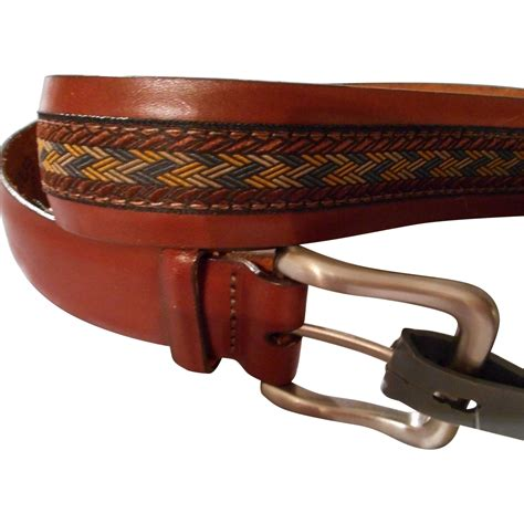 s vintage brown leather belt with fabric center
