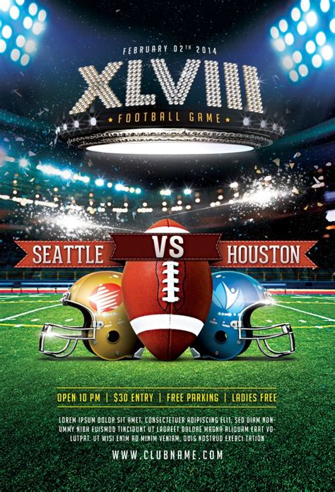 Xlviii Football Game Flyer Template By Easybrandz Via Behance Broadcast And Sport Pinterest Football Flyer Template