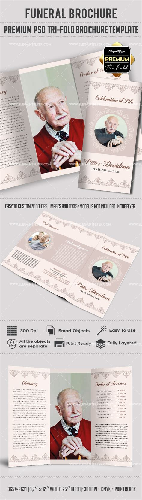 Tri Fold Funeral Service Brochure Template By Elegantflyer Funeral Brochure Template